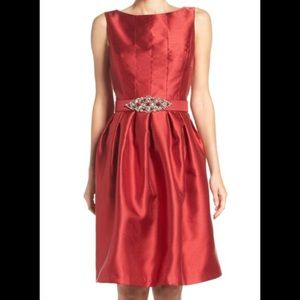 Eliza J Red Taffeta Fit & Flare Jewel Belt Dress